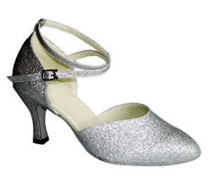 Silver Closed Toe Ballroom Dance Shoes